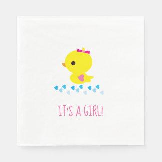 Pink Girl Yellow Duck Baby Shower Kawaii Cartoon Disposable Serviettes