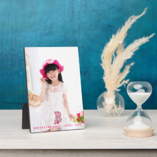 Pink Girl's 5x7 Portrait Photo with Letter B Plaque