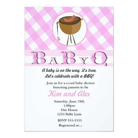 Pink Girls Baby Shower BBQ BabyQ Summer Invitation