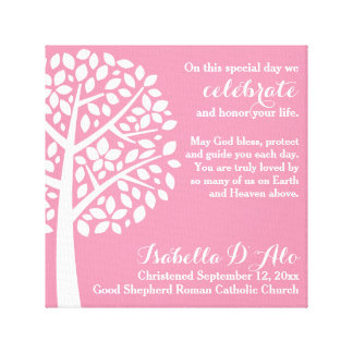 Pink Girl's Baptism Christening Prayer Blessing Canvas Print