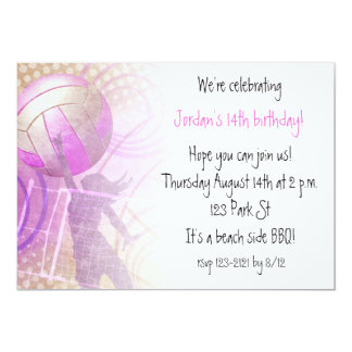 Pink girls' birthday volleyball party invitation