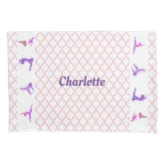 Pink Girls Gymnastics Quatrefoil Monogram Name Pillowcase