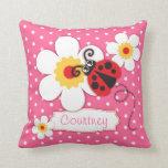 Pink girls ladybug name flower polka dot pillow cushions