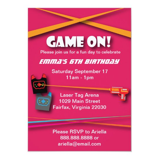 Pink Girl's Laser Tag Birthday Party Card