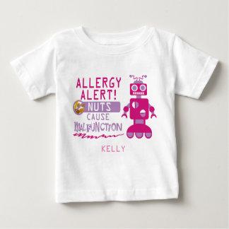 Pink Girls Robot Nut Allergy Alert Shirt