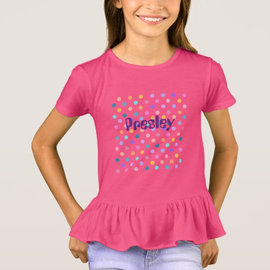 Pink girls ruffle t-shirt with polka dots