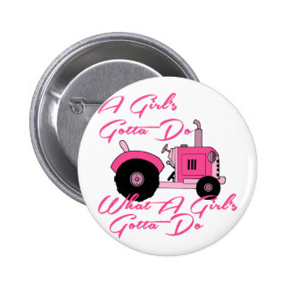 Pink Girls Tractor Buttons