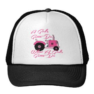 Pink Girls Tractor Trucker Hats