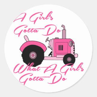 Pink Girls Tractor Round Stickers