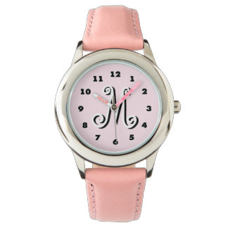 Pink girls watch | personalized letter monogram