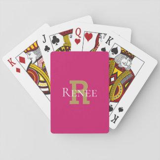 Pink Girly Classy Custom Name Monogram Trendy Playing Cards
