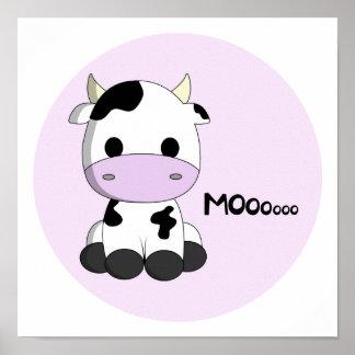 Pink girly cute cow cartoon kids poster