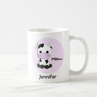 Pink girly cute cow cartoon personalized kids mug