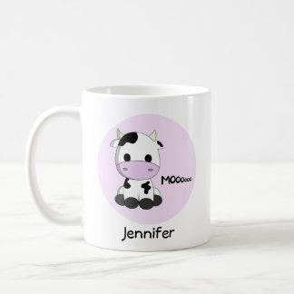 Pink girly cute cow cartoon personalized mug