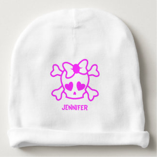 Pink girly emo skull with bow baby beanie