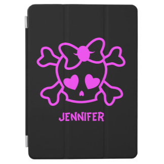 Pink girly emo skull with bow iPad air cover