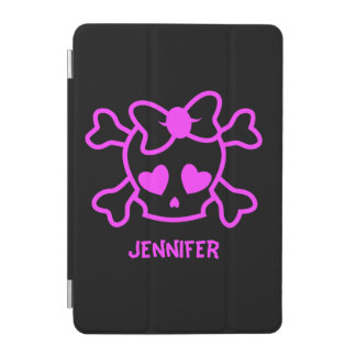 Pink girly emo skull with bow iPad mini cover
