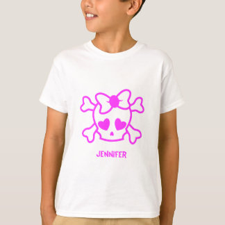 Pink girly emo skull with bow name girl shirt