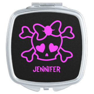 Pink girly emo skull with bow name vanity mirror