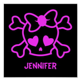 Pink girly emo skull with bow poster