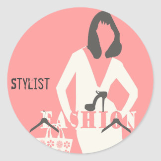 Pink Girly Fashion  Hair Stylist Stylish Classic Round Sticker