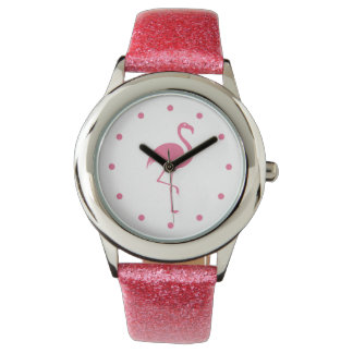 Pink Girly Flamingo Style Watch