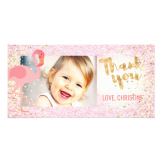 pink girly flamingo tropical thank you card