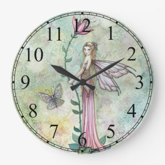 Pink Girly Flower Fairy Clock