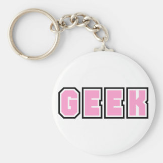 Pink Girly Geek Geeky Geeks Nerd Nerdy Glasses Fun Basic Round Button Key Ring