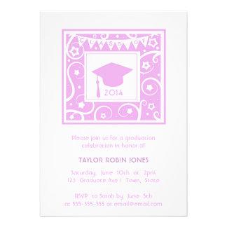 Pink Girly modern stylish graduation invitation