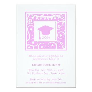 Pink & Girly modern stylish graduation invitation