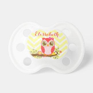 Pink Girly Owl - Custom Baby Binky Baby Pacifier