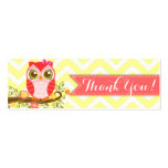 """Pink Girly Owl Custom Baby Shower """"Thank You"""" Tag"""
