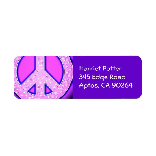 Pink Girly Peace Sign With Purple Neon Glow