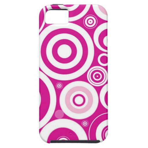 Pink Girly Retro Funky Circles Pattern iPhone 5 Cases