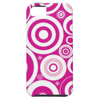 Pink Girly Retro Funky Circles Pattern iPhone 5 Case