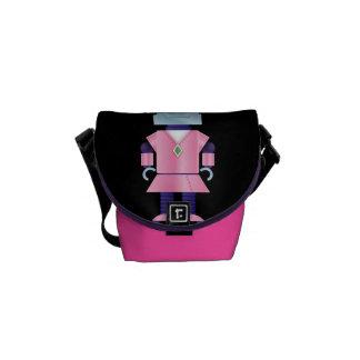 Pink Girly Robot Messenger Bags