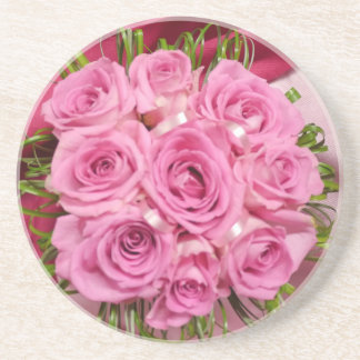 Pink girly Rose Sandstone  Coasters