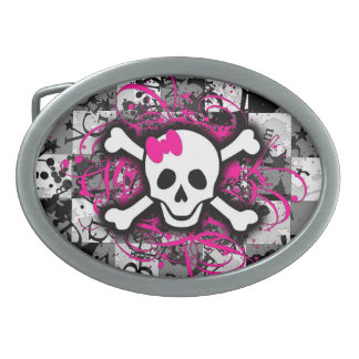 Pink Girly Skull Checkerboard Belt Buckle