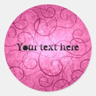 Pink girly swirls classic round sticker