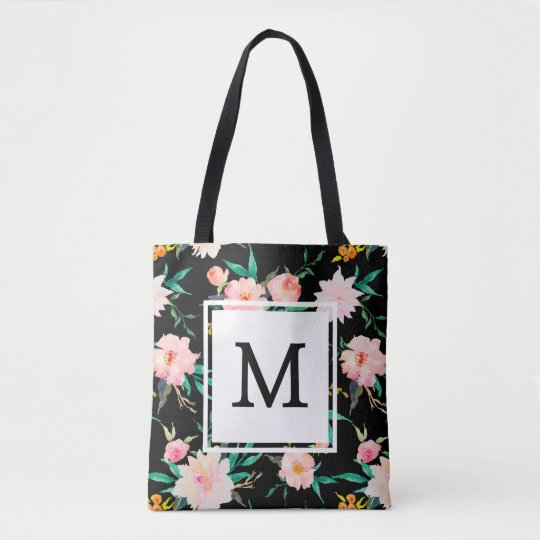Pink Girly Trendy Black White Floral Watercolor Tote