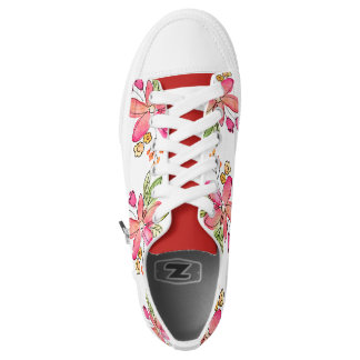 Pink girly watercolor floral design low tops