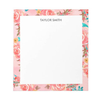 Pink Girly Watercolor Floral Pattern Personalized Notepad