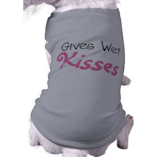 Pink Gives Wet Kisses Dog t-shirts Sleeveless Dog Shirt