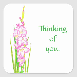 Pink Gladiola Flowers Thinking of You Stickers