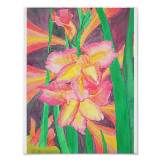 Pink Gladiolas with Tourmaline Crystals and Energy Poster