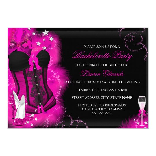 Pink Glam Feather Corset Bachelorette Party Invite