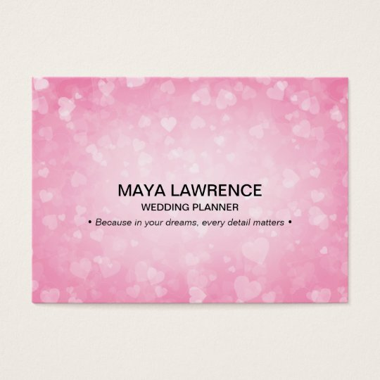 Pink Glamour Glowing Hearts Lights Orbs Sparkle Business Card