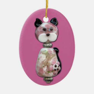 Pink Glass-Bead Cat Ceramic Oval Decoration