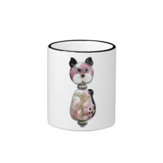 Pink Glass-Bead Cat Ringer Mug